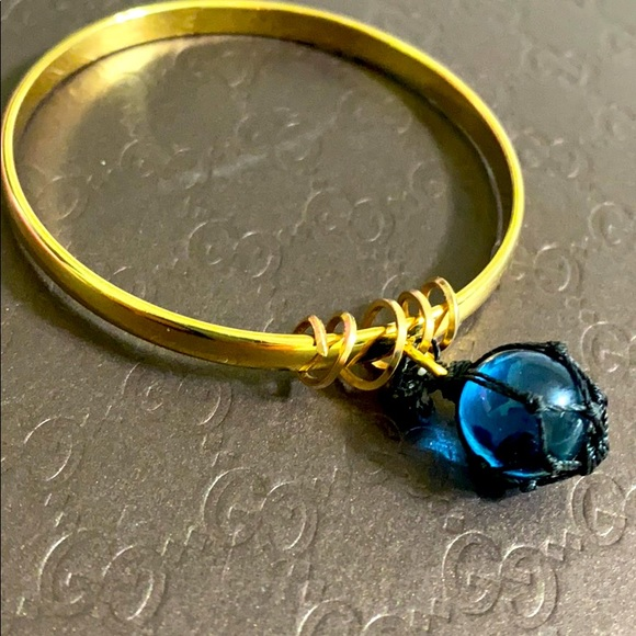 🖤MONET vintage Blue glass float ball bangle